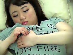 Busty japanese teen rubs