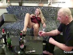 Blonde drinking wine and fucking more at jungleofsex com