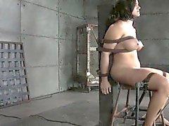 Bondage slave dominated by black master