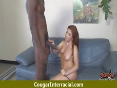 Cougar hottie rides a black monster dick 1