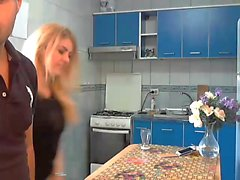Lusty blonde bends over the kitchen table and gets nailed h