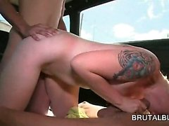 Sex bus threesome with slutty blonde fucking two big cocks