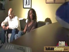 Interracial ebony babe group bukkake 10
