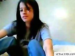 Cutie de tetona eliminación en la Webcam en y caricias su clit