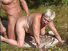 Doting Granny Bangs A Strong Man Outdoors Hardcore