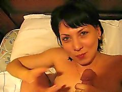 Russian whore doesn't want swallow.