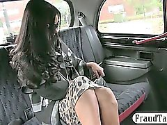 Big boobs black haired amateur railed by fake driver