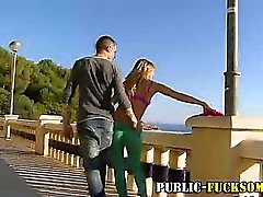 Public outdoor blowjob from euro whore