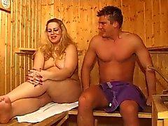 Chubby milf in sauna
