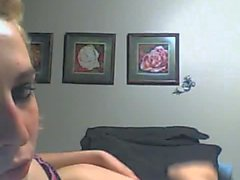 Tall and skinny blonde jerks her big hard dick on cam