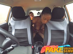 Fake Driving School pretty petite black girl with nice tits