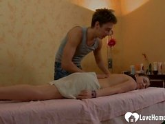 Slutty teen girl gets a happy massage