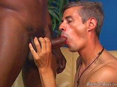 Young black stud banging a mature man