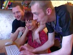 Lonely Russian surfing the net until the two fuck her