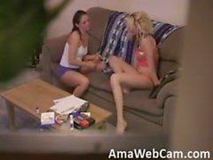 Amateur threesome on hidden cam