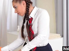 Brunette schoolgirl massages a big dick