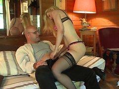LA COCHONNE - Slutty French babe drilled in MMF threesome
