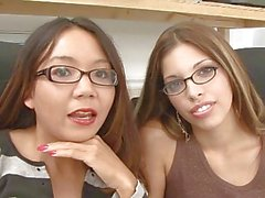 Two pretty geek girls licking each others cunts