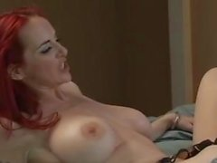 Tatted Redhead Sucks and Fucks in Stockings.
