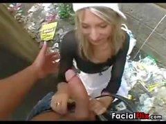 Blonde Slut Gets A Facial POV