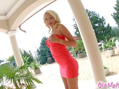 Cutie blonde Arteya on Give Me Pink masturbates with huge dildo