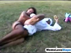 Brunette mom fucking her lover asshole treats like baby