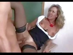 Horny, blonde teacher, Brandi, gives her young student a lesson in sex education