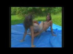 2 girls tribbing to orgasms