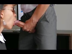 Secretary Sucks Him Off and Bends Over to get Fucked