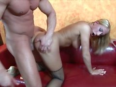 Slutty blonde MILF takes young guy's cock in her mouth and pussy
