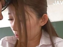 Pantyhosed Jap sucks in class room