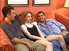 Pale Irish Redhead Teen Fucked By Two Guys