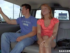 young chick in hot pants gets in to bang bus