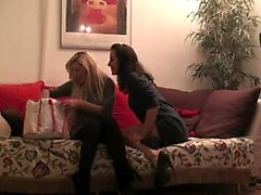 StrapOn Amazing blonde babe fucks her GF with vibrator