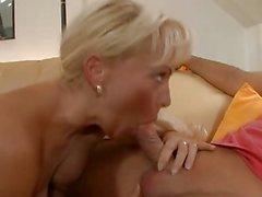 German horny Hausfrau - (Busty blond mom)