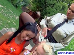 Outdoor lesbians dominated by busty piss babe