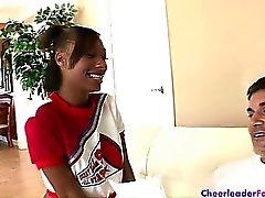 Beautiful ebony cheerleader Nevaeh Givens sucks and