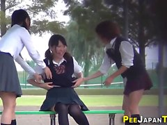 Kinky uniformed teens pee