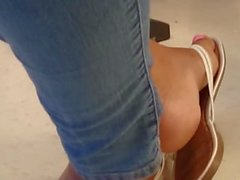 Classmate's Candid Ebony Feet in Class 2