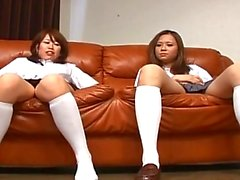 Two asian foot fetish school girl tease a cock