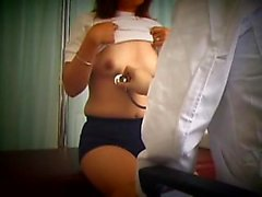 Pretty Asian babe with perky titties has a doctor examining