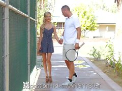 PASSION-HD Petite blonde Bella Rose fucks tennis instructor