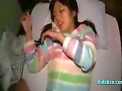 Sweet Oriental chick gives a blowjob and gets fingered in her hairy bush