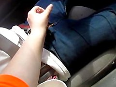 giving hubby a Hand job in the car while driving big cumshot at the end