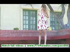 Karina incredibly sexy blonde girl flashing panties and flashing pussy outdoors