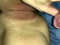 Amateur brunette couch pov and handjob cum