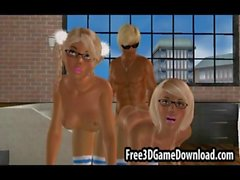 Blonde 3d cartoon hunk with a ripped body fucking babes