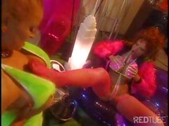 Busty lesbians in bikinis have a private party with pussy play