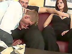 Hungry bisex bitch sucks on dick