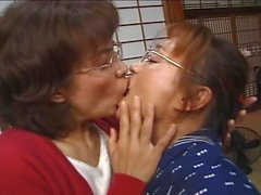 Middle-Aged Japanese Lesbian Extended Tongue Kiss
